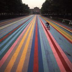 Oversized photo of Washington Color School painter Gene Davis