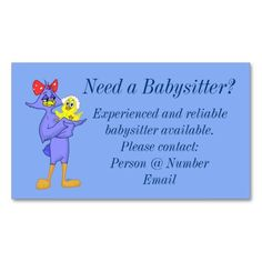 Carte De Visite Babysitter Business Card