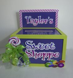 Candy and Sweets for this themed gift card money box for a Bat Mitzvah Party.