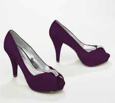 The Diana pump is gorgeous in any hue - shown here in Plum! #davidsbridal Enter The Closet Fashionista Challenge for a chance to win $2,400 in gift cards to David's Bridal & @Home Depot ! Enter by 9/30: http://sweeps.piqora.com/closetfashionista Rules: http://sweeps.piqora.com/contests/contest/content/davidsbridal.com/368/rules