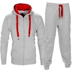 18ec99cd7d31 Mens 2 Piece Color Block Hoodie Sweatshirt Sweatpant Set Tracksuit   You  can find out more