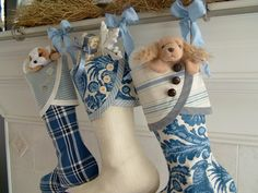 No. 3 Blue & White Christmas Stocking with Droopy Toe. $31.00, via Etsy.