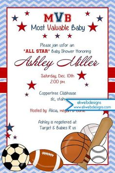oh boy! little all-star mvp sports-themed baby shower invitations, Baby shower invitations