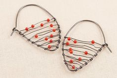 Oxidized Shield Earrings with Coral by Kathy Frey: Silver & Stone Earrings available at www.artfulhome.com