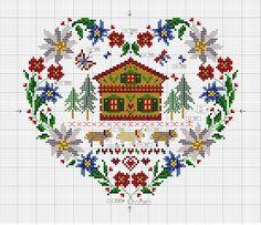 Heart- shaped flower border from El blog de Dmc: Diagramas de punto de cruz de regalo. Free sewing pattern graph.