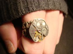 Steampunk Watch Movement Ring with Exposed Gears (571)