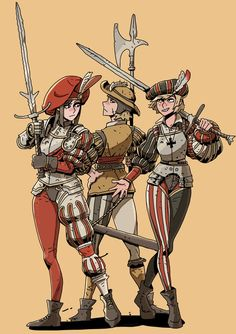 Fantasy Character Design, Character Design Inspiration, Character Art, Fantasy Armor, Medieval Fantasy, D D Characters, Fantasy Characters, Landsknecht, Warhammer Fantasy