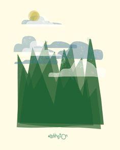 Washington art print illustration - 11x14 - green mountains poster wall decor. $20.00, via Etsy.