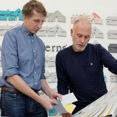 Mark Hampshire and Keith Stephenson of Mini Moderns. A highly successful interiors brand specialising in applied pattern across a range of products. Denim Button Up, Button Up Shirts, Sea Side, Hampshire, Awards, Patches, Range, Interiors, Business