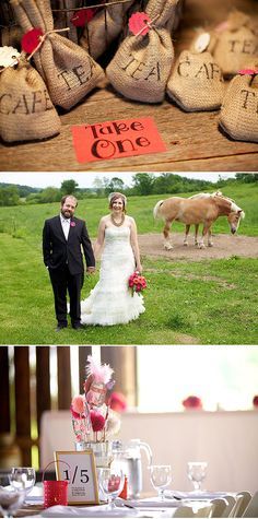 Coffee and tea DIY wedding favors & crafty pink DIY centerpieces - by Ingman Photography
