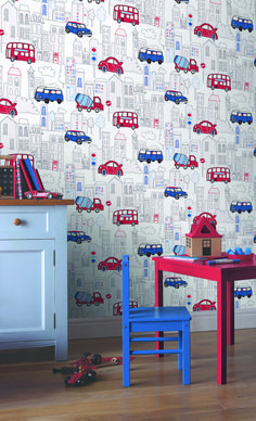 How Cute Is This Wallpaper LOVE This Modern Look For An Accent - Boys car wallpaper designs