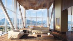 The cantilevered sections of the Observatory Residences will be wrapped in floor-to-ceiling glass, intended to offer residents the sensation of floating above the city and landscape.