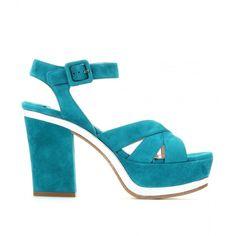 Miu Miu Suede Platform Sandals ($730) ❤ liked on Polyvore