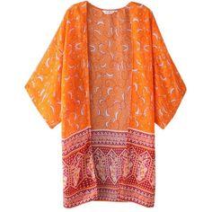 Perman Women's Floral Chiffon Loose Tops Shawl 3/4 Sleeves Mid Long... (150 RUB) ❤ liked on Polyvore featuring tops, floral chiffon top, long chiffon tops, floral tops, chiffon kimono and floral kimono top