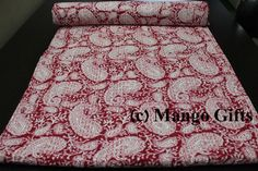 Handmade Indian Kantha Quilt Paisley Bedspread Throw Cotton Blanket Red Color #Unbranded #ArtNouveau