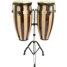 """Tycoon Percussion 10 Inch & 11 Inch Congas Retro Finish With Double Stand by Tycoon Percussion. $332.79. Tycoon Percussion's Artist Series Congas are perfect for the gigging percussionist.  Constructed of carefully selected aged Siam Oak, this set comprises of a 10"""" requinto and an 11"""" quinto.  Super high gloss lacquer over 3 distinct finishes protect the drums and look great on stage.  Water buffalo skin heads cut through the mix in live or studio use.  The..."""