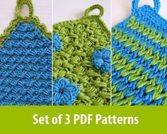 3 easy crochet patterns for pot holders or wash by CasaDiAries, $7.00