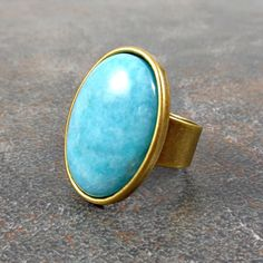 Statement Ring Amazonite Blue Ring Cocktail Ring by Pilboxx