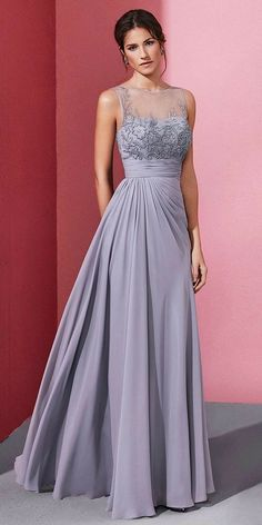 long prom dresses - Enchanting Chiffon Jewel Neckline Aline Prom Dress With Beaded Embroidery Stunning Dresses, Beautiful Gowns, Elegant Dresses, Pretty Dresses, Formal Dresses, Mother Of The Bride Dresses Long, Mothers Dresses, A Line Prom Dresses, Bridesmaid Dresses
