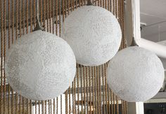 Delicate pendant lights using lace and Stiffy Fabric Stiffener - complete instructions.  This would look pretty in my craft room.