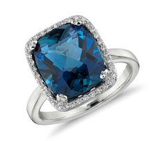 London Blue Topaz and Diamond Halo Cushion-Cut Ring in 14k White Gold #BlueNile #jewelry #cocktailrings #style