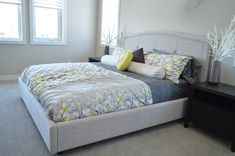 Upholstered headboard ideas check out craft the perfect bedroom with Solid Wood Platform Bed, Platform Bed Frame, Bedroom Bed, Bedroom Furniture, Bedroom Decor, Bedrooms, Bedroom Drawers, Rattan Furniture, Decor Room