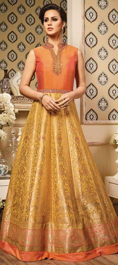 491560: Gold,Orange  color family  stitched gown .