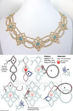 Antique-looking necklaces or bracelets - Salvabranifree beading pattern for necklaceHow to Make a Simple Beaded Necklace - A Beautiful MessLately I've been revisiting one of my first loves, jewelry making. Beaded Necklace Patterns, Beaded Earrings, Beaded Bracelets, Bracelet Patterns, Beading Patterns Free, Seed Bead Patterns, Weaving Patterns, Color Patterns, Embroidery Patterns