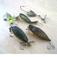 Five fishing lures used in the 1930s  Fresh by ProsperosBookshelf, $30.00