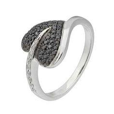 0.25 Carat Black Diamond 14K White Gold Women Rings 2.4g: Ring Size: 7 (Sizable)
