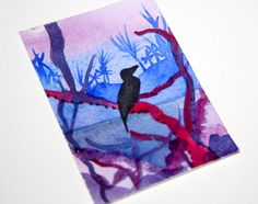 Bird of Paradise ACEO Original Watercolor Painting 2.5 x 3.5 Exotic Landscape Bird Silhouette Original Painting Bird ACEO Blue Lagoon Art