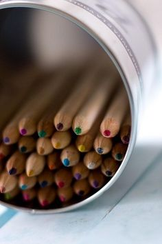 Colored Pencils in tin