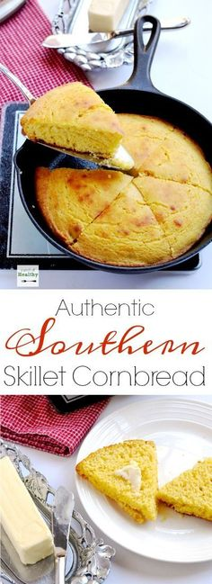 Southern skillet cornbread is a staple in our house. I will show you my method for made-from-scratch cornbread cooked in a cast iron skillet. | http://APinchOfHealthy.com