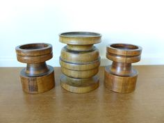 Three Large Turned Wood Pillar Candle Holders, Wood Pedestals