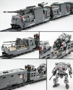 Lego Mech and Armored Train Train Lego, Lego Trains, Lego Mechs, Lego Bionicle, Lego Design, Legos, Lego Machines, Amazing Lego Creations, Lego Ship