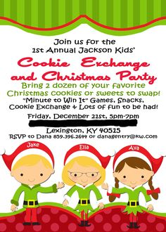 Kid's Christmas Party Invitations  Kid's Cookie Exchange Invitations