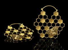 Honeycomb earrings, honey bee hoops, 1mm 18g, tribal brass gold hoop pair earrings, wear with gauges tunnels plugs, geometric yoga vegan