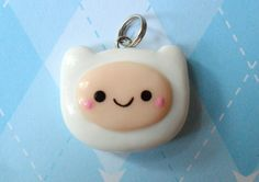 Adventure Time Finn Charm Kawaii Chibi Polymer Clay by JollyCharms, $5.50