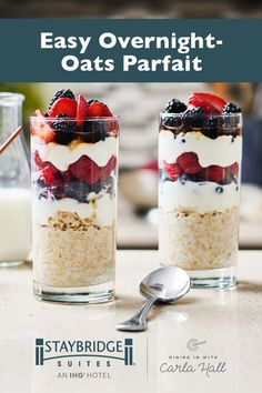 Seize the day by starting it right… with a yummy, mixed berry overnight-oat parfait from Carla Hall of The Chew. This simple recipe only takes a few minutes to prep in-suite the night before. The next morning, just grab it from the full-sized refrigerator and enjoy!