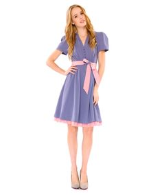 """""""Sweet Little"""" blue and pink crepe dress from Betsey Johnson."""