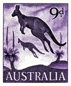 Vintage and beautifully engraved postage stamp issued in 1959 by Australia in a series commemorating native   fauna, here depicted is the iconic kangaroo which is a marsupial from the family Macropodidae (macropods, meaning 'large foot'). kangaroo,joey,australia,outback,vintage,postage stamp,native fauna,mayo,postal,ephemera,ozzie,uluru,ayers rock,wildlife