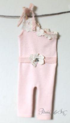 Newborn One Shoulder Pink Romper by PetuniaandIvy on Etsy, $40.00