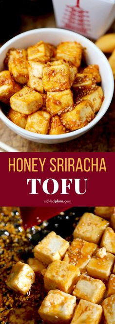 of my favorite tofu recipes of all time! Tofu cubes coated with corn starch and pan fried until crispy. Then tossed in a spicy and sweet honey sriracha sauce. Healthy and so amazing! Vegetarian dinner for tofu lovers and tofu beginners! Vegetarian Recipes Dinner, Healthy Recipes, Healthy Meal Prep, Healthy Snacks, Healthy Pizza, Healthy Vegetarian Dinner Recipes, Diet Recipes, Dinner Healthy, Amazing Food Recipes