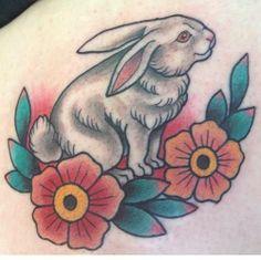 Traditional Rabbit & Flowers Tattoo by Lilly Collard at Westside tattoo in Brisbane. Bunny Tattoos, Rabbit Tattoos, Animal Tattoos, Flower Tattoos, Girl Tattoos, Tatoos, Westside Tattoo, Oldschool Tattoos, Lillies Tattoo
