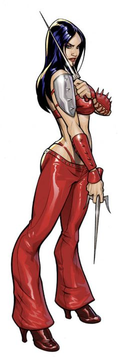 Elektra by Terry Dodson. Reminds me of The old Marvel Nemesis game Marvel Vs, Marvel Comics, Marvel Women, Marvel Girls, Comics Girls, Marvel Heroes, Comic Book Characters, Comic Book Heroes, Marvel Characters