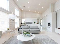 Interior Design, Living Room, Decor Interior Design, Interior, Log Homes, Family Room, White Decor, Modern House, White Interior