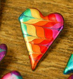 Just Plain Jane's Rainbow Swirled Heart Pin.