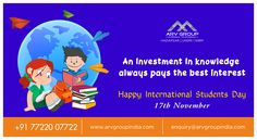 An investment in knowledge pays the best interest..Happy International Students Day!