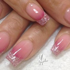 ♥Nail Art ■ Tammy Taylor colored acrylic over tips.. Baby and medium pink glitter acrylic at tips with 3 different pink acrylics faded on nail bed....ALL FREEHAND and no drills used