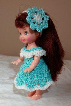 "Handmade Thread Crochet Kelly Doll Barbie Family Dress for 4.5"" Kelly or similar…"